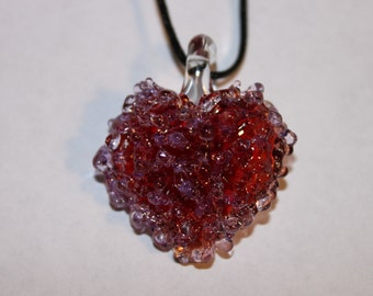 Red,pink, and purple glass splatter heart necklace