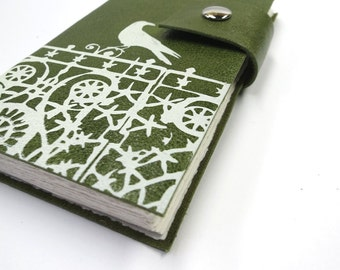 Green Leather Journal, Sketchbook, Notebook, Travel Journal, Diary, Personalized, Crow