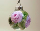 Hand Painted Christmas Ornament- Original Holiday Tree Decor- Pink Roses on Clear Glass