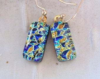Petite Dichroic Glass Earrings, Glass Jewelry, Dangle, Gold Filled, Gold, Cobalt Blue, A1