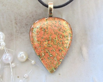Dichroic Glass Pendant, Necklace, Fused Glass Jewelry, Peach, Copper, Necklace Included, A5