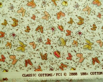Mini Butterflies All Over Fabric, 25 X 44 Inch Piece, 2000, Last Chance.