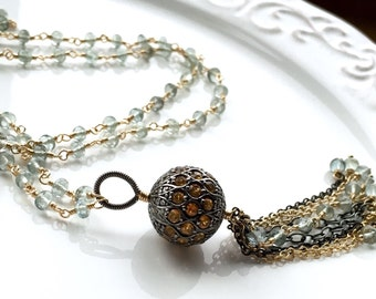 Moss Aquamarine Long Tassel Flapper Necklace with Diamond and Citrine Pave Orb Mixed Metal