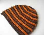 brown wool knit hat with orange