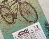 BiCYCLE calendar for 2017 Hand Printed Letterpress
