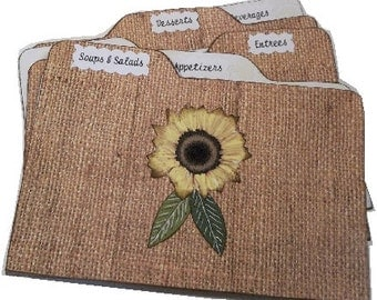 Recipe Tab Dividers Sturdy (Set of 6) Burlap and Lace, Sunflower,Rustic  3 x 5 or 4 x 6 MADE To ORDER