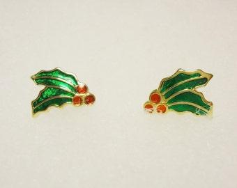 1980s, Little Earrings, Vintage earrings, holly berries, christmas earrings, holly earrings, holly leaves, lacquer earrings