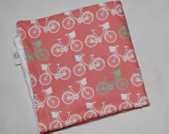 Coral Whimsical Wheels Minky Security Blanket Lovey