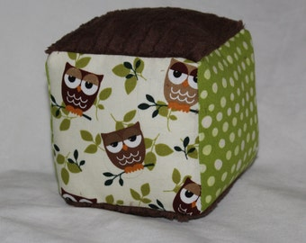 Brown and Green Owls Minky Block Rattle Toy
