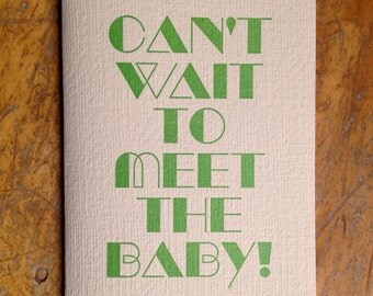 can't wait baby letterpress card new baby expecting baby shower