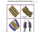 Beadweaving Tutorial, Bracelet Pattern, Earring Pattern, Superduo Pattern, Brick Pattern, Lentil Pattern, .pdf Instructions for Personal Use