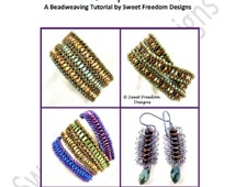 Beadweaving Tutorial, Bracelet Pattern, Earring Pattern, Superduo Pattern, Brick Pattern, Lentil Pattern, .pdf Instructions for Personal Use