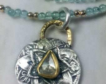 Clear diamond and gemstone necklace, diamond pendant, aquamarine, diamond and gold necklace