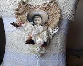 HOPE - vintage laces - vintage materials - wall hanging - NO408