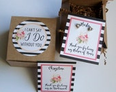 Will You Be My Bridesmaid Favor, Maid of Honor Gift Box, I Cant Say I Do Without You RUSTIC BOHO Striped, Earring Cards, Recycled Paper Fill
