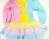 r e s e r v e d 1980's 4T Dress // Neon Stripes and Colors // Retro Girl's Dress // Layers and Ruffles // Neapolitan // Pink BOWS / toddler