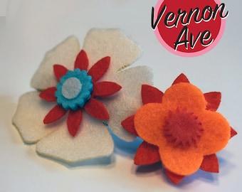 Felt Hair Clips - Flower Hair Clip Vernon Ave Felt Flower Barrette