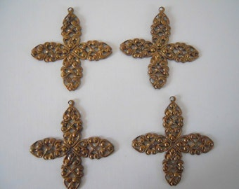 4 Vintage Brass Filigree Findings Wraps