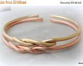 ON SALE Metal Cuff Bracelets - Brass or Copper Cuff Twisted Bracelets Bangle Cuff