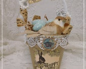 Happy Easter Crowned Birdie Pot Decoration, Hand Created with Painted Glittered Eggs, Home Decor, Spring, Easter, ECS