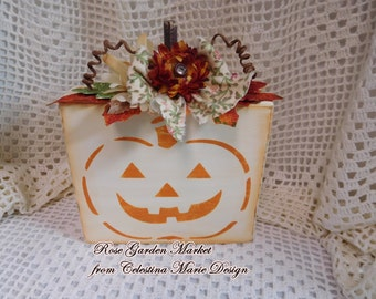 Pumpkin Block Fall Decoration with Stenciled Pumpkin Smiling Face, Hand Painted, Designed and Embellished, Fall Decor, Home Display, ECS