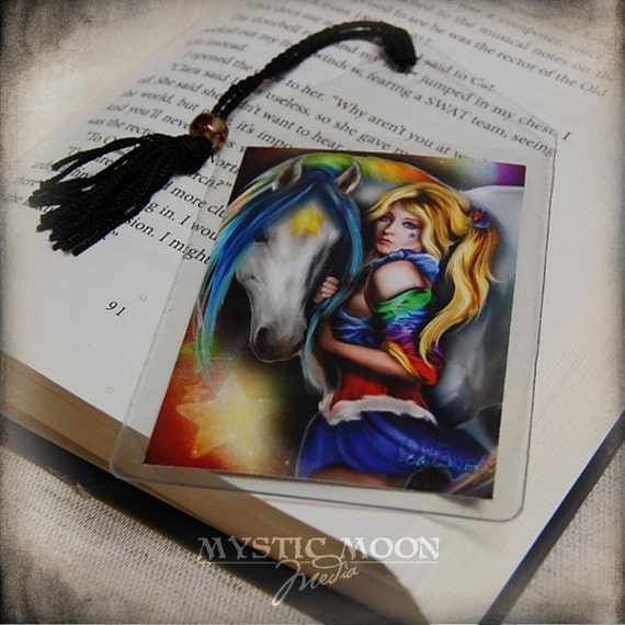 Brite and Starlight... Bookmark... Rainbow Brite Inspired Collectors Card.. Inspired by 1980's TV Show... with horse Starlight