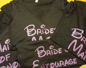 GLITTER Disney font Bride Shirt  V-neck ,Bridal Shower gift, Wedding party shirts,  maid of Honor, Mother of the Bride, Bridesmaid shirt