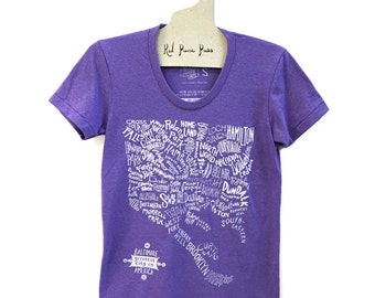 Baltimore Neighborhoods Map Tee in VIOLET
