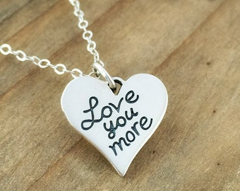 Love you more heart charm necklace - Sterling silver