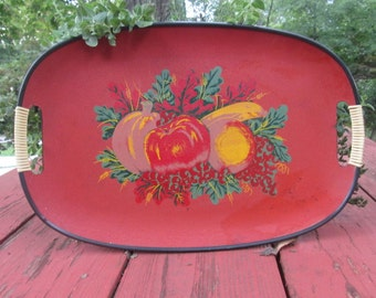 Vintage Composite Serving Tray - Cherry Red With Fruit Design