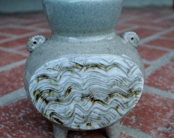 Stoneware Vase with Porcelain Hakeme Slip Decoration OOAK
