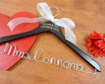 Engraved Name Hanger - Personalized Hangers - Bride Coat Hangers - Bridal Accessories - Wedding Dress Prop - Mrs Hanger - Engraved