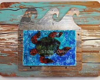 Turtle sea - encaustic wax painting.
