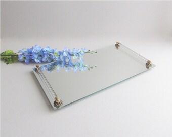 Vintage Vanity Tray Mirrored Tray Jewelry Cosmetic Tray