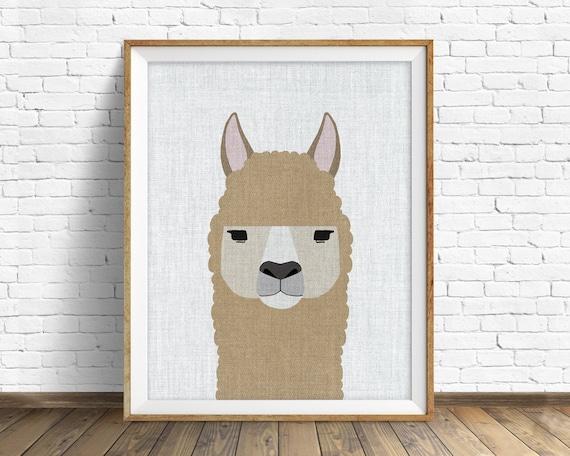 Alpaca - art print, large art, mid century modern wall art, art for kids, nursery decor, nursery wall art, animal prints, prints, animal art