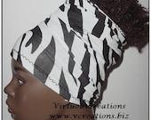 Natural Hair Accessories-HeadTube-HeadBand-Zebra-Black & White