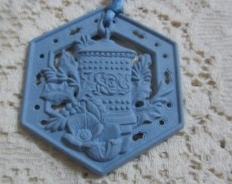 Vintage Wedgewood Christmas Tree Ornament With Floral and Holly Design Made in England