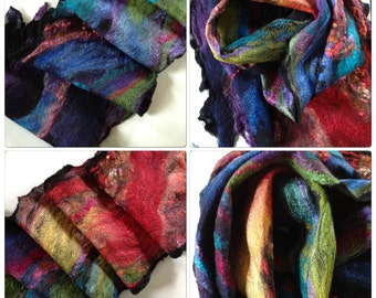 Hand felted Nuno scarf in merino and silk with some mixed fibres Crazy Rainbow