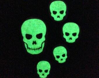 Set of Five Glow-in-the-dark Skull Decals