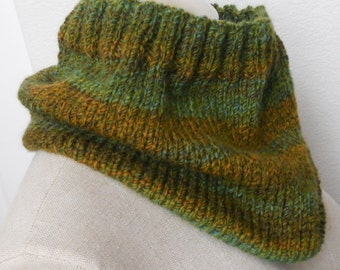 Hand Knit Cowl, infinity scarf, circle scarf, knit snood in greens and brown