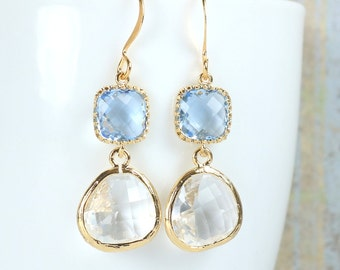 Long Clear and Light Sapphire Gold Framed Stone Dangle Earrings, Gold Earrings, Clear Gold Earrings, Long Gold Earrings