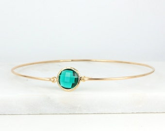 May Birthstone Emerald Quartz and Gold Filled Bangle Bracelet, Gold Bracelet, Emerald Bangle Bracelet, Emerald and Gold Bracelet [#784]
