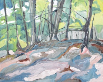 "Art Large Landscape Oil Painting Original  Impressionist Forest Tree Orford National Park Quebec Canada Fournier ""The Forest Floor 24 x 30"