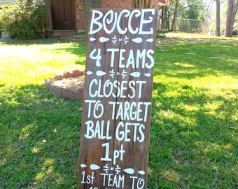 BOCCE Sign. Game Rules Board. Lawn Games Sign. Yard Self Standing Sign. Reclaimed Wood Wedding Sign. Reception Games Signs. Corn Hole Sign