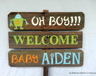 Baby Name Sign Oh Boy Robot Baby Shower Sign Yard Sign Welcome Home Baby Signs Wood It's a Boy Sign It's A Girl Sign Maternity Photo Prop