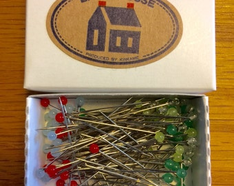 100 Little House Applique Dressmaking Pins Japanese glass head pins refill for Pin Tin
