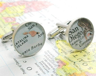 UpCycled Custom Vintage Map Sterling Silver Round Cufflinks. You Select the Journey.