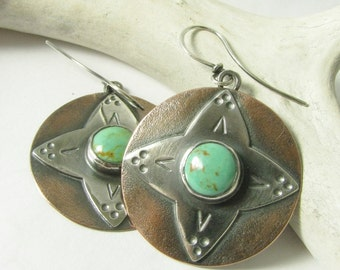 Artisan Turquoise Earrings, Two Tone Earrings Mixed Metal Earrings, Silver And Copper Earrings, Southwestern Earrings, Statement Earrings