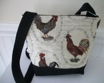 Chicken/ Rooster Upholstery fabricShoulder bag