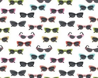 Novelty-GLASSES in white - by the YARD - by Samantha Walker for Riley Blake
